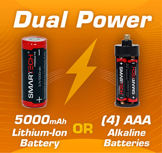 Dual power options - run off rechargeable lithium-ion battery or AAA batteries