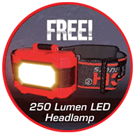 FREE! 250 Lumen LED Headlamp