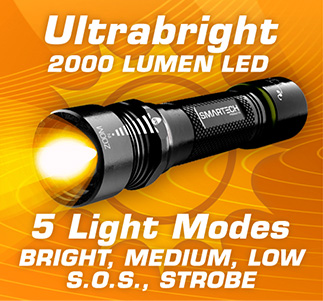 Ultrabright 2000 Lumen LED with 5 Light Modes