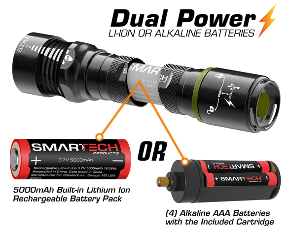 Dual power - uses either a rechargeable battery or 3 AAA batteries